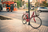 Bicycle versus public transport — Stockfoto