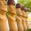 Moais statues in the garden — Stock Photo