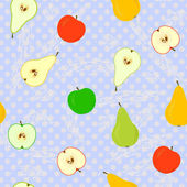 Seamless With Apples And Pears With Polka Dots — Stock Vector