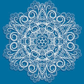 White snowflake on blue — Stockvector