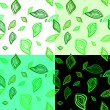 Seamless patterns with leaves — Stock Vector