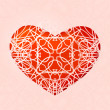 Red heart with lace ornament — Stock Vector