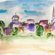 Stock Photo: Watercolor city landscape