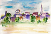 Watercolor city landscape — Stock Photo