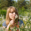 Beautiful girl blow on the dandelion — Stock Photo #12406182
