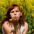 Pretty girl blows away hands of flowers — Stock Photo #12406543