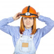 Business girl in a helmet — Stock Photo