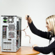 Girl with the system unit - Stock Photo