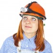 Girl worker in helmet — Stock Photo #13628206