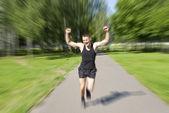 Athlete ran to the finish — Stock Photo