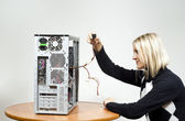 Girl with the system unit — Stock Photo