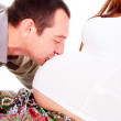The husband kisses the pregnant wife of the stomach — Stock Photo