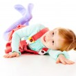 A little girl plays, look out — Stock Photo