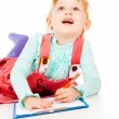 The little girl draws — Stock Photo