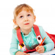 The little girl lying and draw — Stock Photo #14027466
