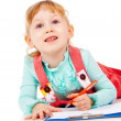 The little girl lying and draw — Stock Photo