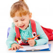 The little girl lying and draw — Stock Photo #14027515