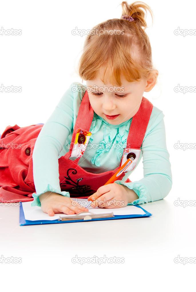 The little girl tries to draw isolated on white background — Stock Photo #14026476