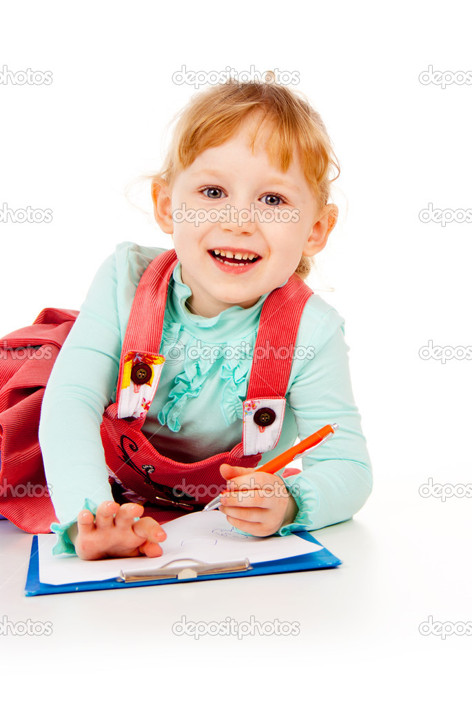 The little girl tries to draw isolated on white background — Stock Photo #14027559