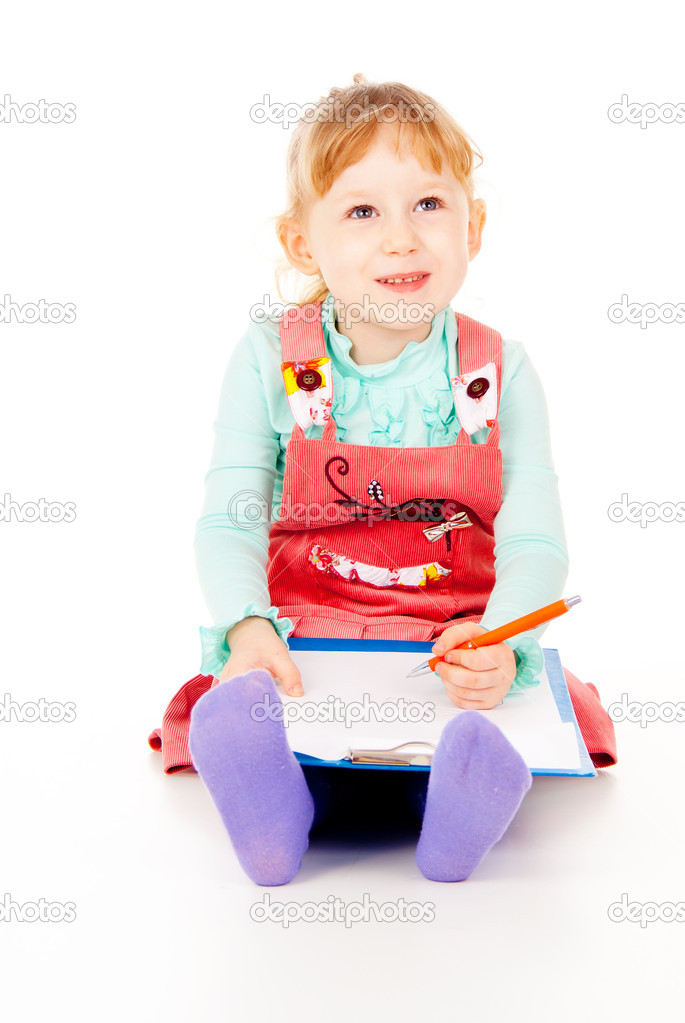 The little girl tries to draw isolated on white background — Stock Photo #14027569