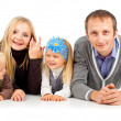 Happy family with young children — Stockfoto