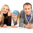 Happy family with young children — Stock Photo