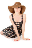 Beautiful the girl wore a big hat — Stock Photo
