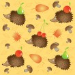 Autumn background hedgehogs collect food — Stock Vector