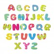 Stock Vector: Bright children's alphabet