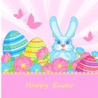 Royalty-Free Stock Vector Image: Card with blue bunnies and Easter eggs