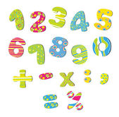 Colorful numbers for children — Stockvektor