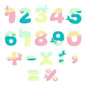 Vector numbers for children with butterflies — Stock Vector