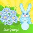 Royalty-Free Stock Vector Image: Easter card with blue flowers and a rabbit