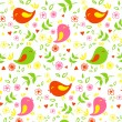 Seamless pattern birds and flowers — Stock Vector