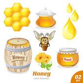 Set of honey, honeycomb, bee, a barrel of honey — Stock Vector