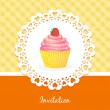 Vector card with cake and strawberries — Stock Vector