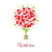 Wedding card tree of hearts — Stock Vector