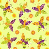 Fiori e farfalle disegno senza giunte — Vettoriale Stock