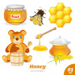 Set of honey, honeycomb, a bear, a pot of honey — Stock Vector