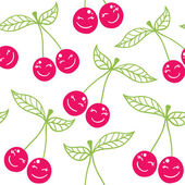 Seamless pattern cherry smiling — Stock Vector