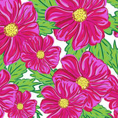 Seamless pattern of red flowers — Stock Vector
