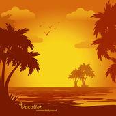 Sunset on the beach, summer background — Stock Vector