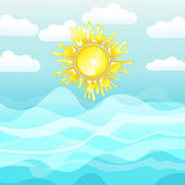 Sea and sun, summer background — Stock Vector