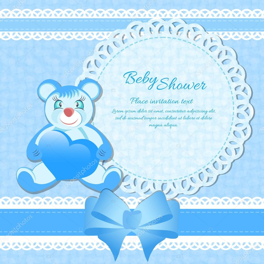 Baby Shower For A Boy Card ~ Baby shower greeting card for boy stock vector
