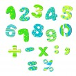 Colorful numbers for children bright green blue — Stock Vector #27672777