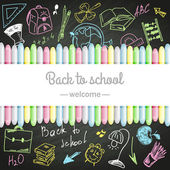 School boards and colored chalks — Stock Vector