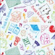Seamless pattern colorful school supplies — Imagens vectoriais em stock
