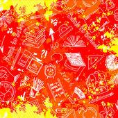无缝图案抽象学校用品 — 图库矢量图片