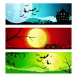 Set of backgrounds for Halloween — Stock Vector