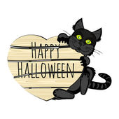 Halloween black cat with a sign — Stock Vector